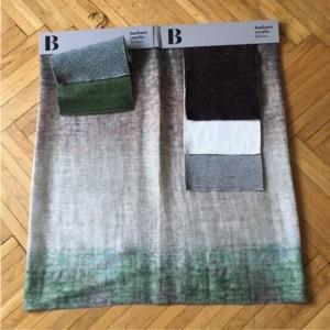 Rimons Stofffavorit der Stunde: Equador von Barbara Osorio, reine Seide mit Digitaldruck: Wenn monochrom auf grün trifft.